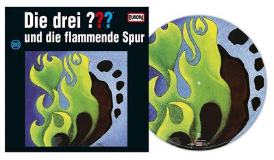 Die Drei Fragezeichen ??? Flammende Spur als Picture Vinyl. PackShot: Sony Music